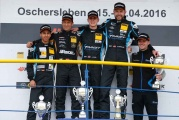 Strahlende Gesichter bei der Siegerehrung der ADAC TCR Germany - ADAC TCR Germany, Oschersleben, Josh Files, Jürgen Schmarl, Mike Beckhusen, Harald Proczyk - Quelle: ADAC Motorsport